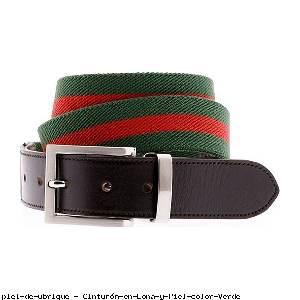 Cinturón en Lona y Piel color Verde