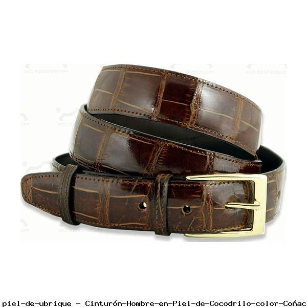 Cinturón Hombre en Piel de Cocodrilo color Coñac
