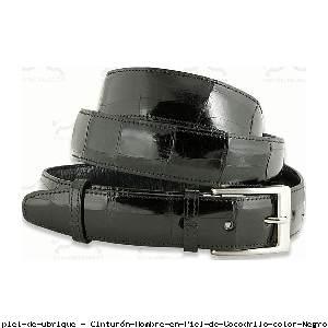 Cinturón Hombre en Piel de Cocodrilo color Negro