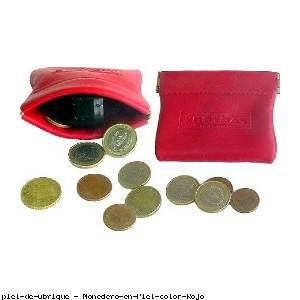 Monedero en Piel color Rojo