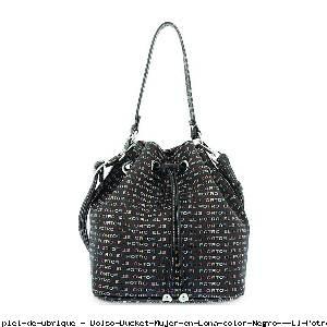 Bolso Bucket Mujer en Lona color Negro - El Potro