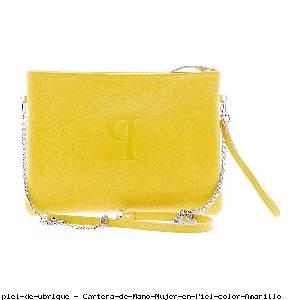 Cartera de Mano Mujer en Piel color Amarillo