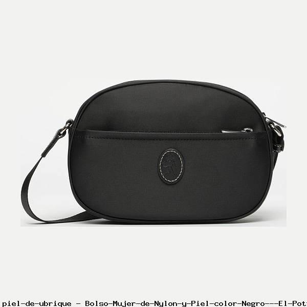 Bolso Mujer de Nylon y Piel color Negro - El Potro