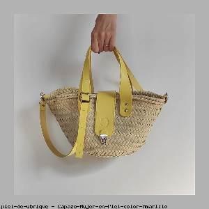 Capazo Mujer en Piel color Amarillo