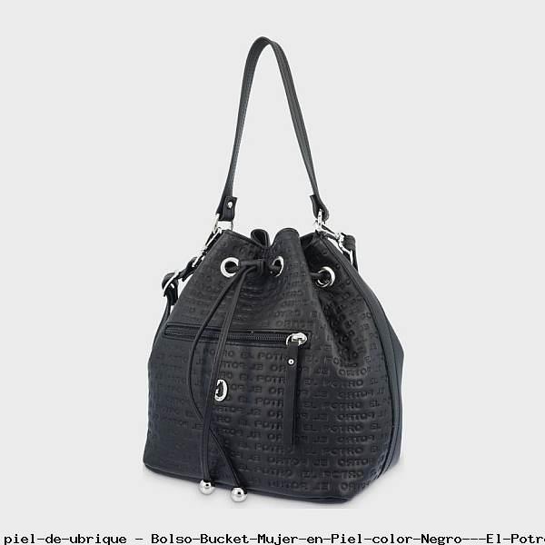 Bolso Bucket Mujer en Piel color Negro - El Potro