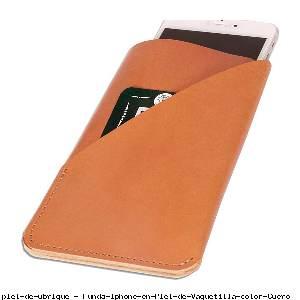 Funda Iphone en Piel de Vaquetilla color Cuero