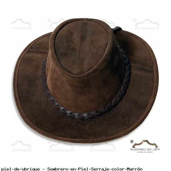 Sombrero en Piel Serraje color Marrón