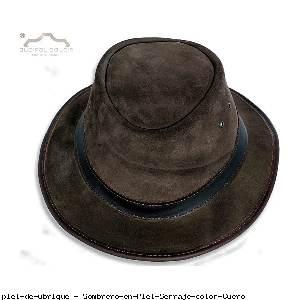 Sombrero en Piel Serraje color Cuero