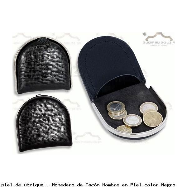 Monedero de Tacón Hombre en Piel color Negro