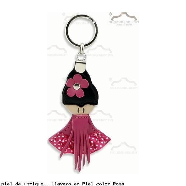 Llavero en Piel color Rosa