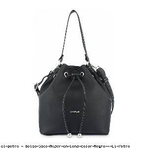 Bolso Saco Mujer en Lona color Negro - El Potro