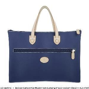 Bolso Carperta Mujer en Lona y Piel color Azul - El Potro