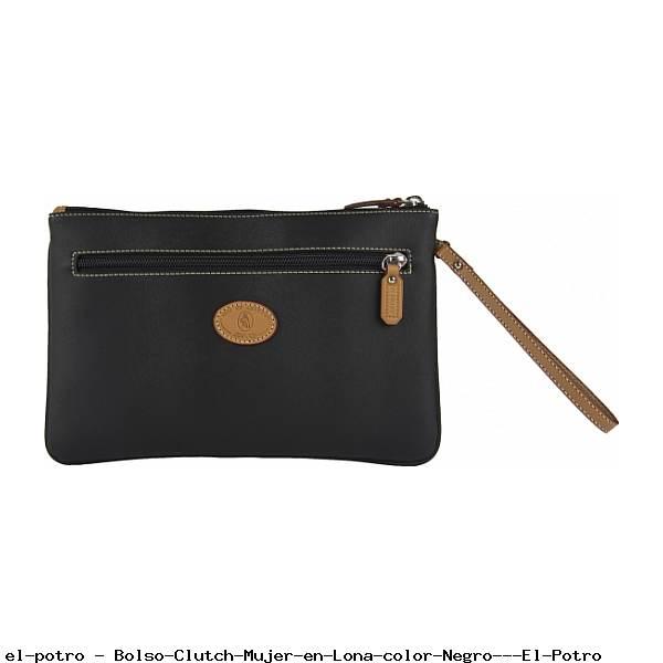 Bolso Clutch Mujer en Lona color Negro - El Potro