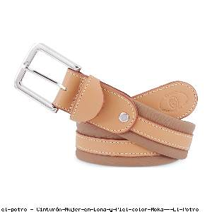 Cinturón Mujer en Lona y Piel color Moka - El Potro