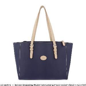 Bolso Shopping Mujer en Lona y Piel color Azul - El Potro