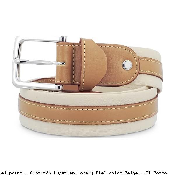 Cinturón Mujer en Lona y Piel color Beige - El Potro
