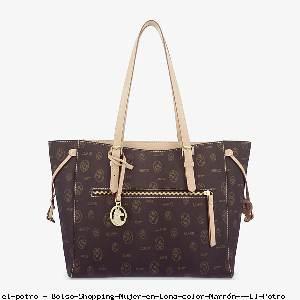 Bolso Shopping Mujer en Lona color Marrón - El Potro