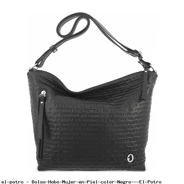 Bolso Hobo Mujer en Piel color Negro - El Potro