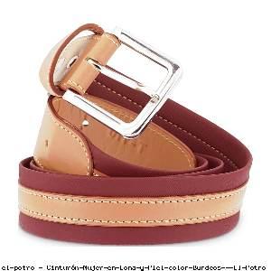 Cinturón Mujer en Lona y Piel color Burdeos - El Potro