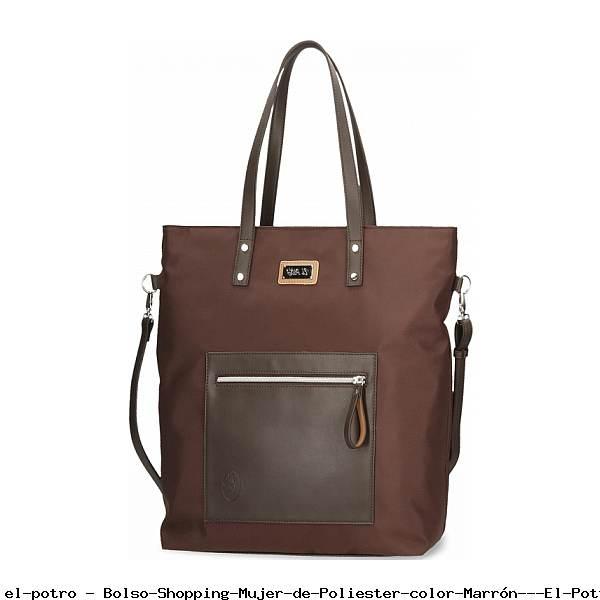 Bolso Shopping Mujer de Poliester color Marrón - El Potro