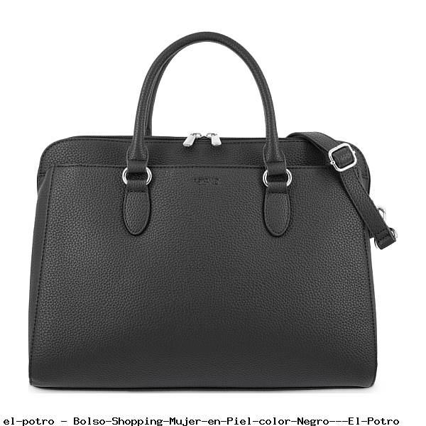 Bolso Shopping Mujer en Piel color Negro - El Potro