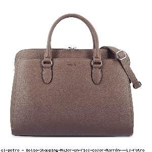 Bolso Shopping Mujer en Piel color Marrón - El Potro