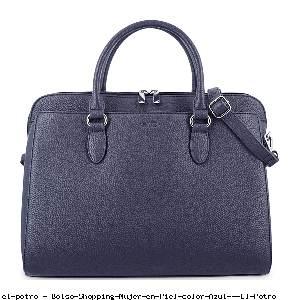 Bolso Shopping Mujer en Piel color Azul - El Potro