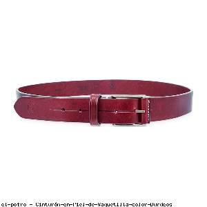 Cinturón en Piel de Vaquetilla color Burdeos