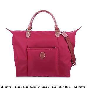 Bolso Tote Mujer en Lona y Piel color Rojo - El Potro