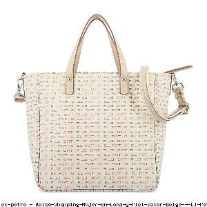 Bolso Shopping Mujer en Lona y Piel color Beige - El Potro