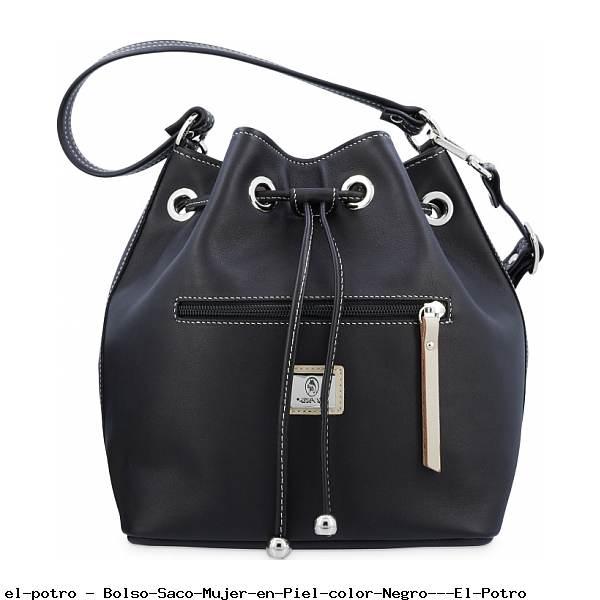 Bolso Saco Mujer en Piel color Negro - El Potro