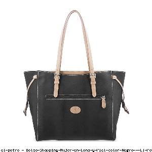 Bolso Shopping Mujer en Lona y Piel color Negro - El Potro
