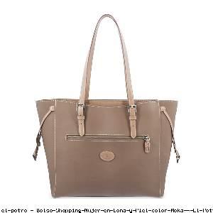 Bolso Shopping Mujer en Lona y Piel color Moka - El Potro