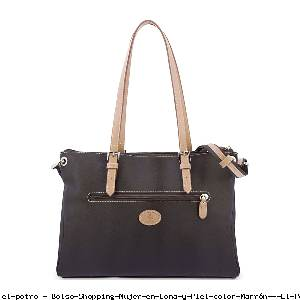 Bolso Shopping Mujer en Lona y Piel color Marrón - El Potro