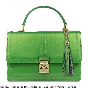Bolso de Mano Mujer en Piel color Verde - Barada
