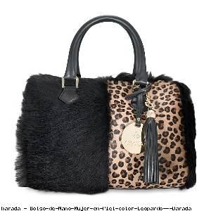 Bolso de Mano Mujer en Piel color Leopardo - Barada