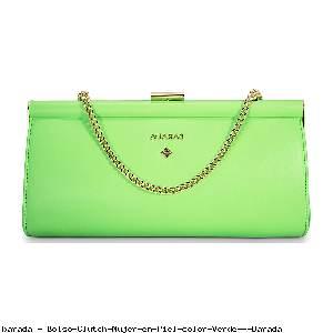 Bolso Clutch Mujer en Piel color Verde - Barada