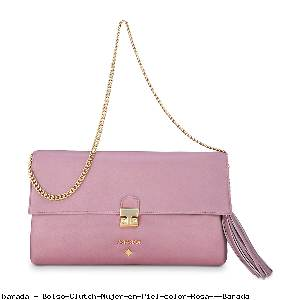 Bolso Clutch Mujer en Piel color Rosa - Barada