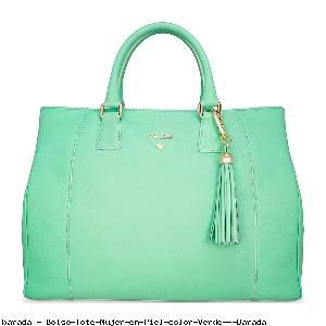 Bolso Tote Mujer en Piel color Verde - Barada