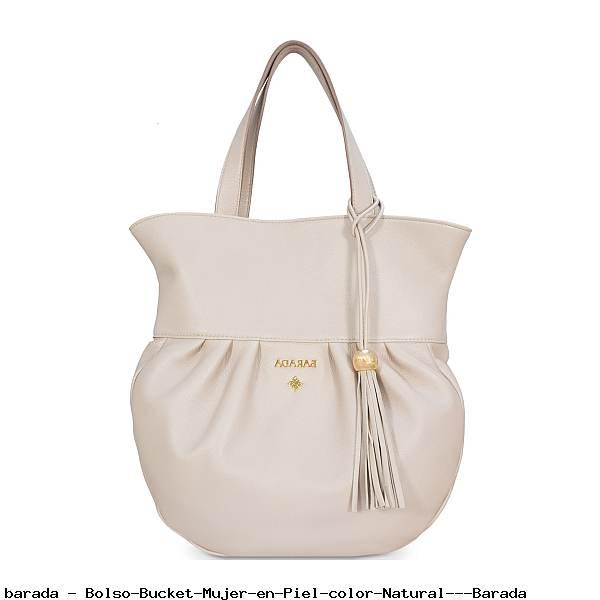 Bolso Bucket Mujer en Piel color Natural - Barada