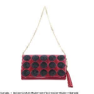 Bolso Clutch Mujer en Piel color Rojo - Barada