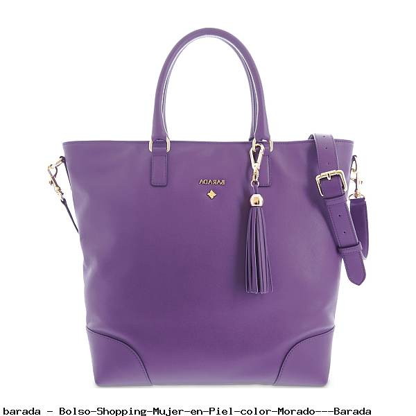 Bolso Shopping Mujer en Piel color Morado - Barada