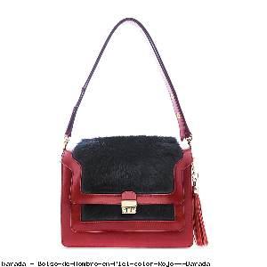 Bolso de Hombro en Piel color Rojo - Barada