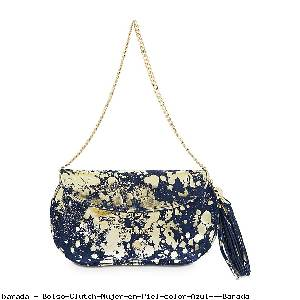 Bolso Clutch Mujer en Piel color Azul - Barada