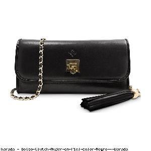 Bolso Clutch Mujer en Piel color Negro - Barada
