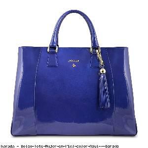 Bolso Tote Mujer en Piel color Azul - Barada