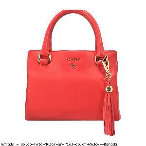 Bolso Tote Mujer en Piel color Rojo - Barada