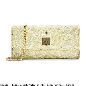 Bolso Clutch Mujer en Piel color Dorado - Barada