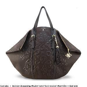 Bolso Shopping Mujer en Piel color Marrón - Barada