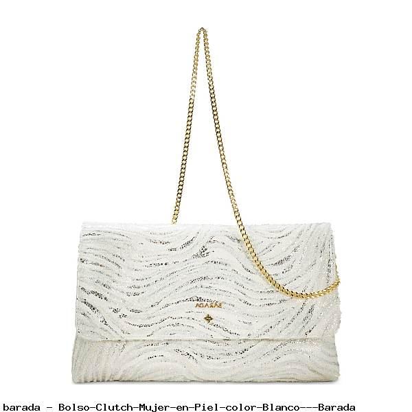 Bolso Clutch Mujer en Piel color Blanco - Barada